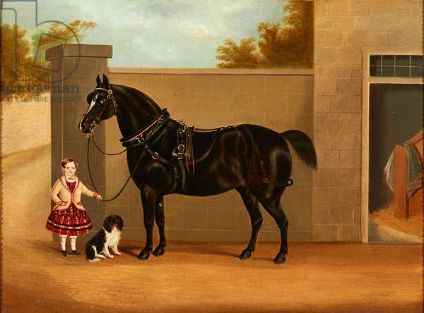 Young Girl with Dog and Black Horse (oil on canvas)
