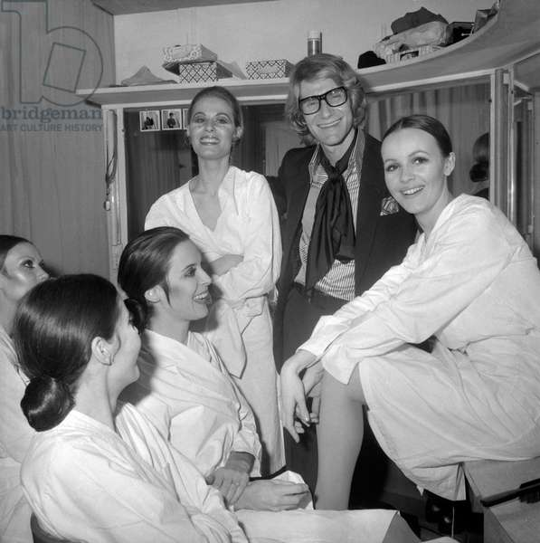 Yves Saint-Laurent and his models, 1969 (b/w photo)