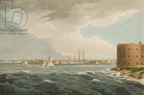 New York from Governors Island, no.20 from the Hudson River Portfolio, engraved by J. Hill, 1821-25 (coloured engraving)