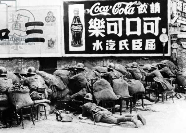 China / Japan: Chinese troops resisting Japanese aggression during the Battle of Shanghai, 1937