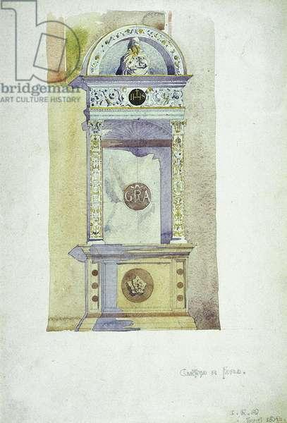 Certosa di Pavia, Memorial, 1891 (watercolor on paper)