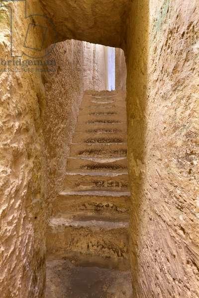 Underground cemetery at the rock-cut Church of San Pietro Barisano, Matera, Italy (photo)