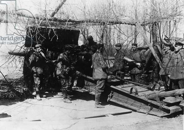 German artillery during the Battle of Champagne, 1917 (b/w photo)