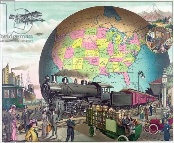 Twentieth Century Transportation, published c.1910 (colour litho)