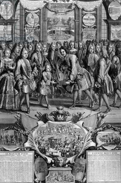 Meeting in Paris between Russia's Tsar Peter I Great (1672-1725) and King of France, Louis XV (1710-1774) as child in 1717, engraving from 1718 French almanac