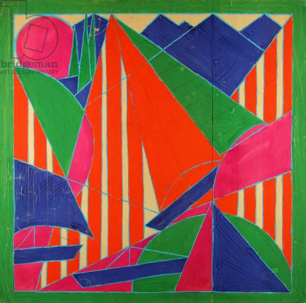 Sails in Sochi. Design sketch for a scarf., 1974 (gouache on paper)