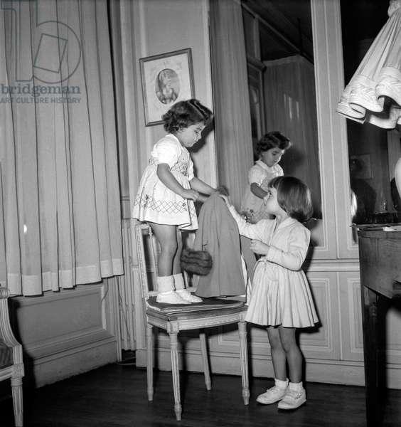 Children's fashion by Jane Sylvain, Paris, October 1949 (b/w photo)