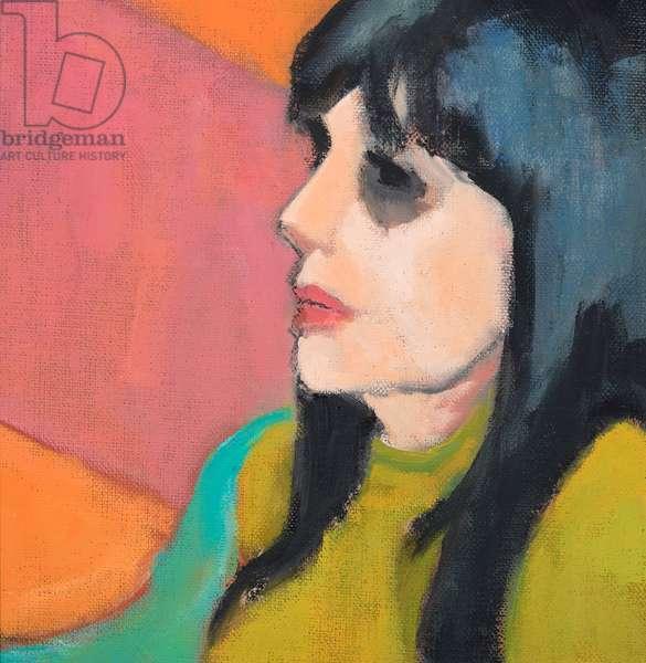 Black Hair, Lime Jumper, 2017, oil on canvas board