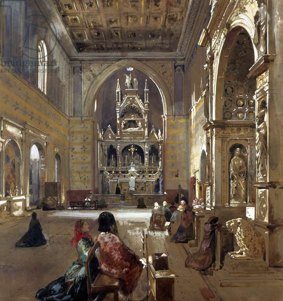 Interior of San Giovanni a Carbonara Church, 1867, by Giacinto Gigante (1806-1876), watercolor, 53x49 cm.