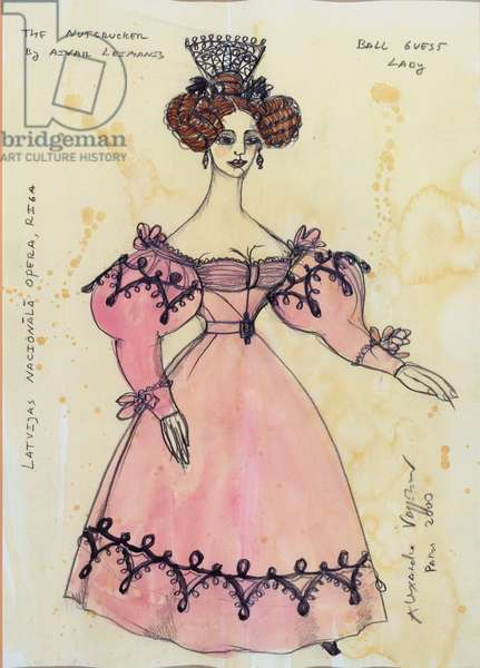 Costume design for a lady invited to the ball, from Tchaikovsky's ballet 'The Nutcracker', 2000 (w/c & gouache on paper)