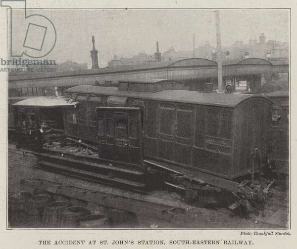 The Accident at St John's Station, South-Eastern Railway (b/w photo)