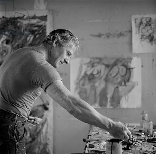 De Kooning in his Studio, 1953 (b/w photo)