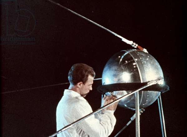 Soviet Technician Working on Sputnik 1, 1957.
