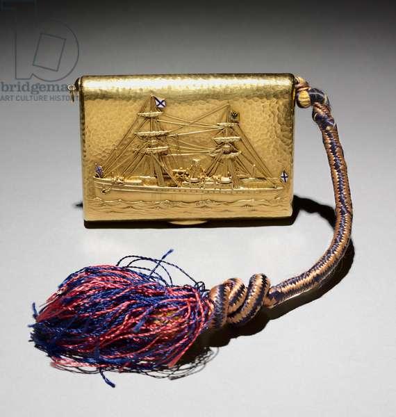Cigarette Box, 1886 (gold, enamel, diamonds, cord)
