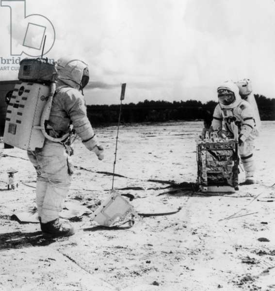 Alan Shepard And Edgar Mitchell Before Their Departures On A Lunar Ground Simulates With Seismic Investigation Equipment February 4, 1971 (b/w photo)
