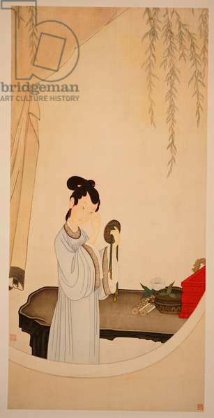 A Lady Gazing in the Mirror (hanging scroll, ink & colour on silk)