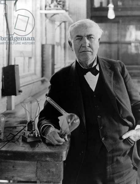 Portrait of Thomas Edison (b/w photo)