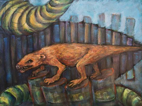 Thrinaxodon (Early Triassic), 2017 (mixed media on paper)