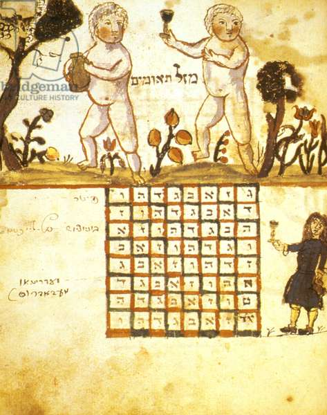 ZODIAC SIGN OF GEMINI: illustration, 1716, from a Hebrew book on Jewish calendar, printed in Germany.