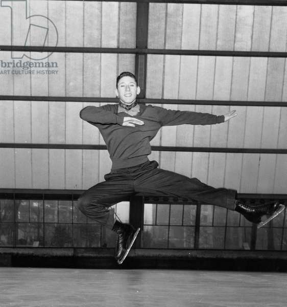Alain Calmat, French Ice Skater, here during Training, 1958 (b/w photo)