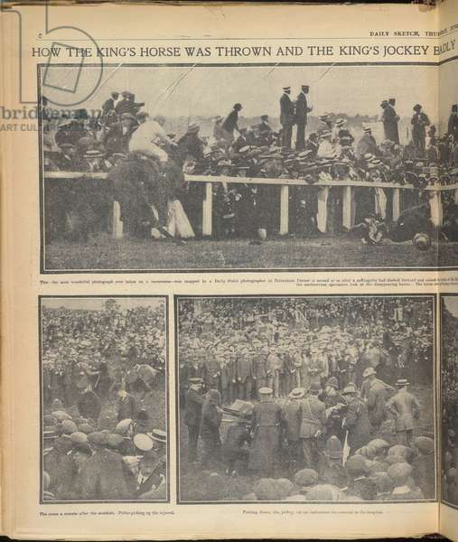 How the King's horse was thrown and the king's jockey badly injured by a suffragette during yesterday's Derby'. The incident when Emily Davison, a suffragette stepped in front of the King's horse, Anmer, on 4 June 1913, at the Epsom Derby.