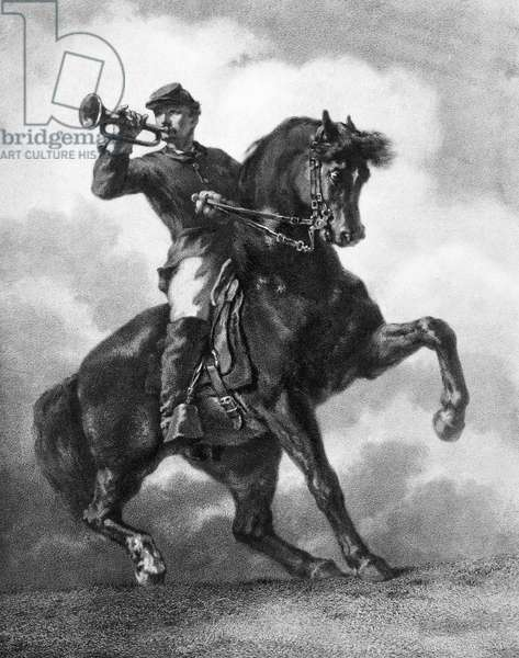 CIVIL WAR: BUGLER, 1863 A Union Army bugler during the American Civil War. Lithograph, 1863, after a painting by William Morris Hunt (1824-1879).