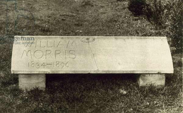 William Morris, grave stone (b/w photo)
