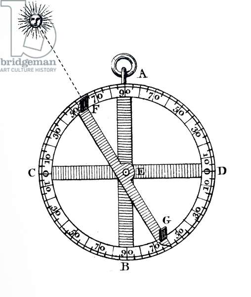 An engraving depicting a Mariner's astrolabe, 18th century
