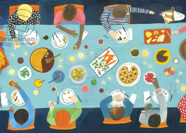 Dinner party, 2015 (oil on paper)