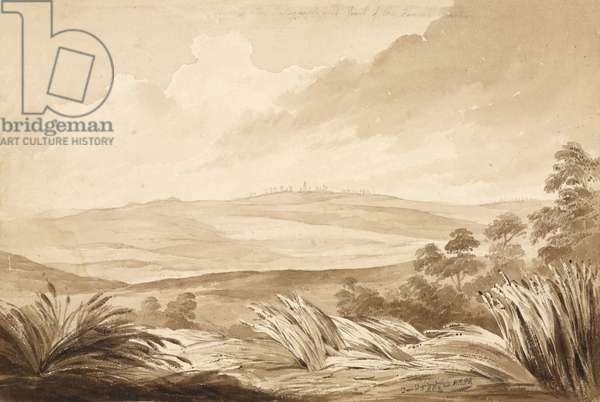 'No 3 View of the Telegraph and part of the French Position', 1815 (w/c & pencil on paper)