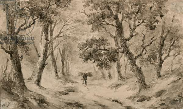 A Wood Gatherer in the Forest (brown ink & wash on buff paper)