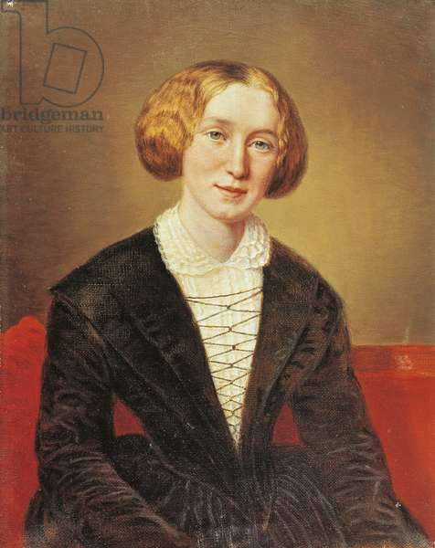 Portrait of George Eliot, pseudonym of Mary Anne Evans (Arbury, 1819 - London, 1880), English writer 1849 (oil painting)