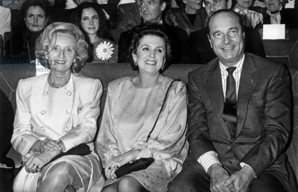 Opera Singer Galina Vichnevskaia With Bernadette and Jacques Chirac at Fine Arts Academy, Paris, October 26, 1988 (b/w photo)