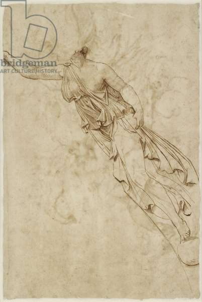 Verso: Figure of Victory, WA1846.138 (pen & brown ink on paper, possibly over minimal blind stylus indications)
