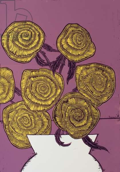 Yellow Roses, 2016, (linocut)