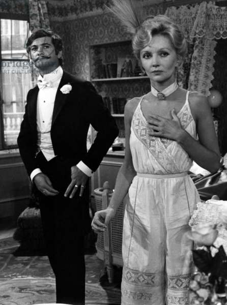 Jean Claude Brialy And Caroline Cellier In The Piece De Theatre La Fear Des Couches By Georges Courteline For Television July 9, 1974 (b/w photo)