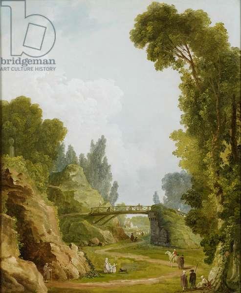 The Rustic Bridge, Château de Méréville, France, c.1785 (oil on canvas)