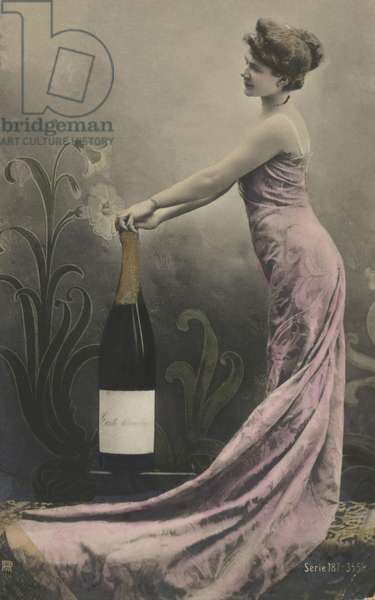 Girl with champagne bottle (colour photo)