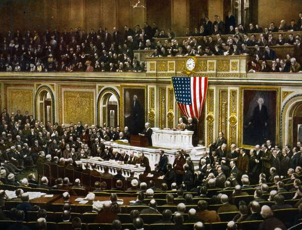 American president, Woodrow Wilson asking Congress to declare war on Germany, in 1917.