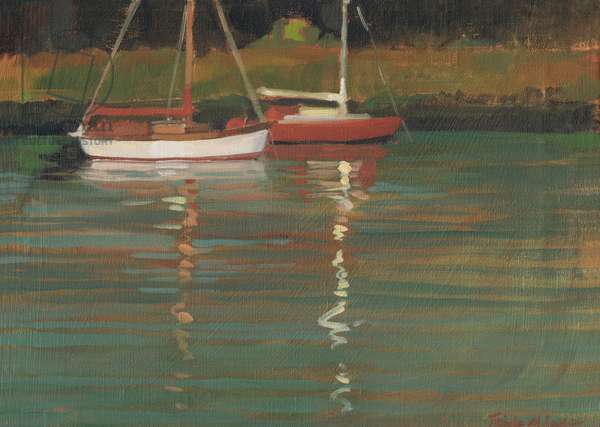 Yacht Reflections (oil on canvas)