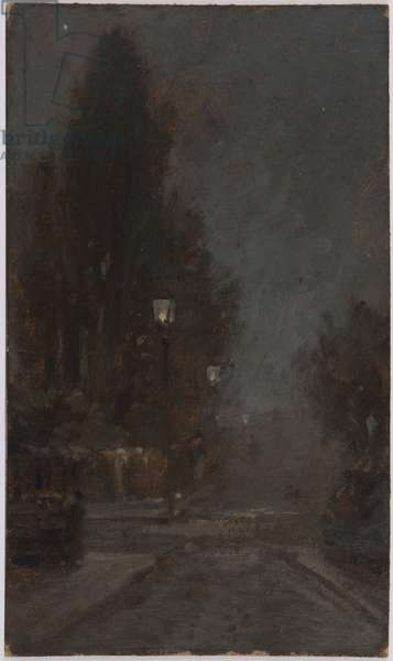 Urban street at night (oil on board)