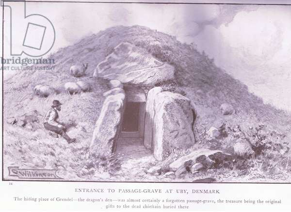 Entrance to passage grave at Uby Denmark, 1920's (litho)