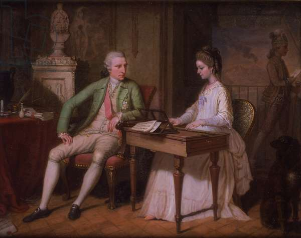 Sir William and the first Lady Hamilton in their villa in Naples, 1770 (oil on copper)