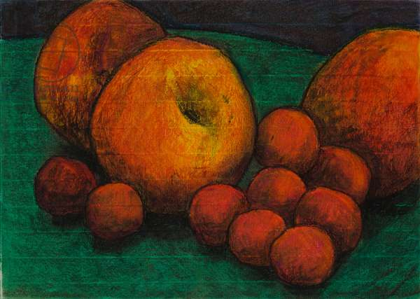Peaches and plums, 2006 (oil pastel on paper)