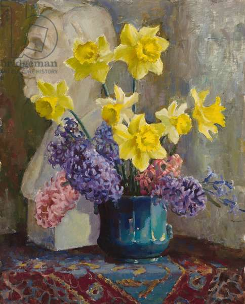 Still Life with Daffodils and Hyacinths (oil on canvas)