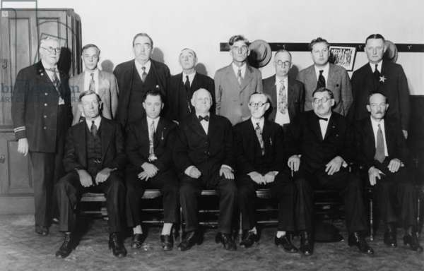 Twelve-man jury that convicted Al Capone for income tax evasion in 1931. This jury, substituting one Capone tampered with, was made up of men from outside Chicago including a retired hardware dealer, a country storekeeper and a farmer. Capone was sentenced to a total of 11 years in a federal penitentiary