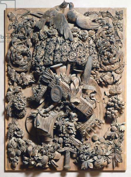 Panel of Cosimo III, 1682, by Grinling Gibbons (1648-1721), wood carving, Italy