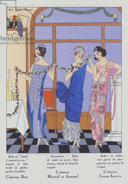 Women's fashion from the 1920s by designers Gustave Beer, Martial and Armand, and Jeanne Lanvin (colour litho)