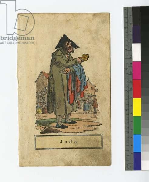 Poor Jewish Peddler or Beggar (hand-coloured etching)