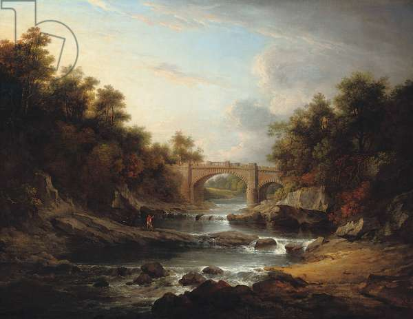 View on the River Almond, near Edinburgh, with Almondell Bridge and a fisherman, 1811 (oil on canvas)